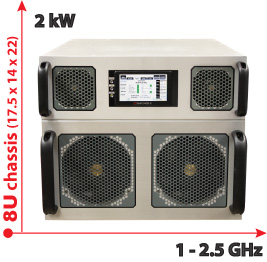 RF Amplifier System: 1-2 5 GHz,2 kW in 8U chassis